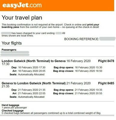 Return flights LONDON GATWICK to GENEVA - OUT 16th Feb 2020, RTN 21st Feb 2020