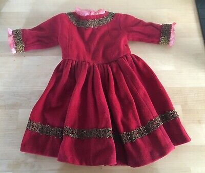 Beautiful Red antique dolls dress.