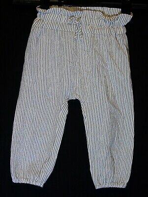 Baby Girls Next White Grey Pinstripe Cuffed Harem Trousers Age 12-18 Months
