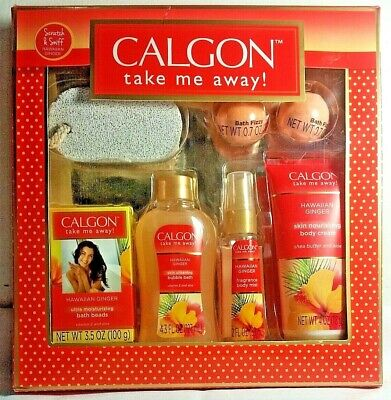 Calgon Take Me Away Hawaiian Ginger Boxed Gift Set 7 Piece BRAND NEW PACK SEALED