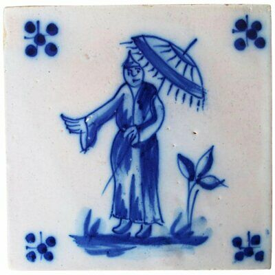 Antique Portuguese Tile depicting a Chinese Man, 19th Century, Tin-Glazed Potter