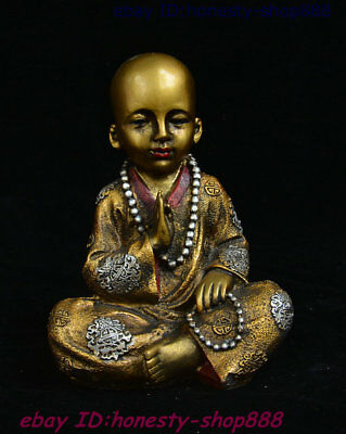 Old Chinese Buddhism Bronze Painting Color Buddhist Monk Bonze Shaveling Statue