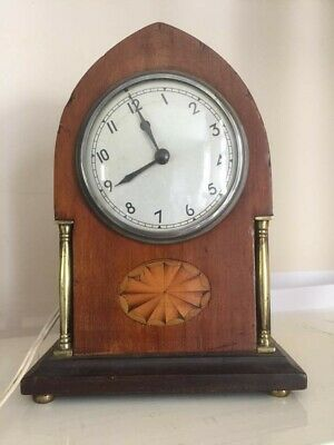 Beauftiful Antique Inlaid Mantlepiece Clock Marquetry Case Edwardian Temco