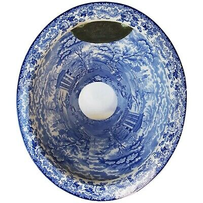 Victorian Toilet Bowl in White and Blue, Earthenware, 19th Century