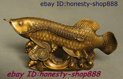 Old Chinese Pure Copper Bronze Home Feng Shui Wealth Gold Dragon Fish Koi Statue