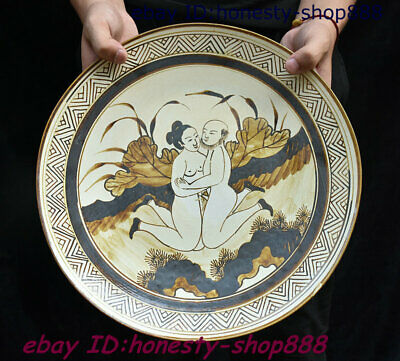 Old Chinese Porcelain Hand Drawn Pornography Plate Dish Circular tray Fruit Tray