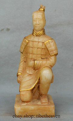 "10"" White Jade Chinese Famous Emperor Qin terra cotta warriors Figure Statue"