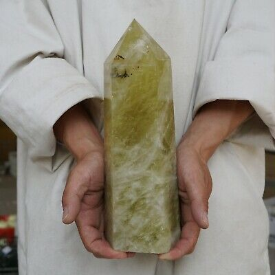 "8.61LB 11.4"" Natural Rainbow Citrine Quartz Crystal Point Tower Polished Healing"