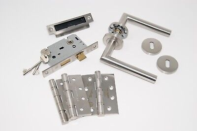 Mitred Door Handle Pack 3 lever Lock Set with Hinges FOR 45MM FIRE DOOR