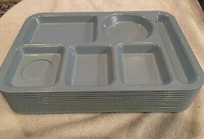 Vintage Silite Cafeteria School Lunch Trays 12 Grey Divided Large Lot Model 614
