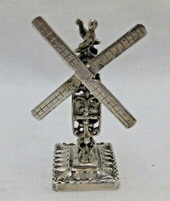Antique Solid Sterling Silver Cast Miniature Windmill Chester 1900