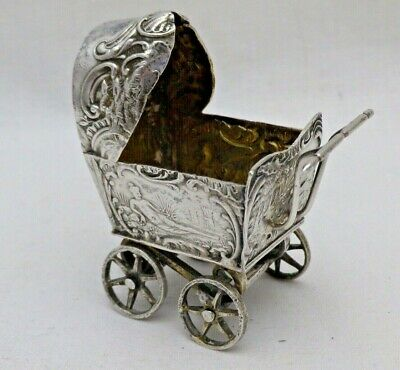 Antique Solid Sterling Silver Cast Miniature Chariot Sheffield 1898