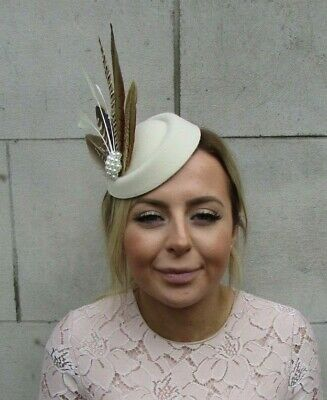 Cream Brown Pheasant Feather Pillbox Hat Fascinator Races Hair Clip Pearl 7927