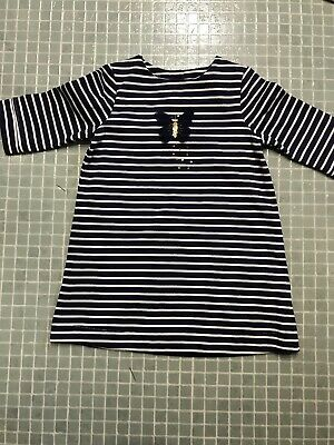 Girls  Mothercare Navy Blue Striped Winter Dress Age 2-3 Excellent Condition