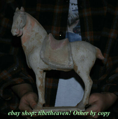 "11.6"" Old China Tang sancai Pottery Dynasty Palace Stand Tang Horse Sculpture"