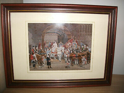 A Vintage Framed Cashs Wovern Silk Embrodered Picture Lady Godiva