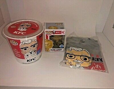 Funko Pop! Icons KFC - Gold Colonel Sanders Exclusive Pop & Tee Bundle! Size: XL