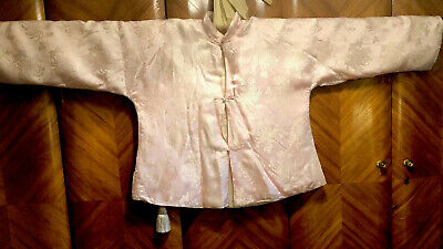 Antique Old Chinese Delicate Pink Chrysanthemum Woven Silk Jacket