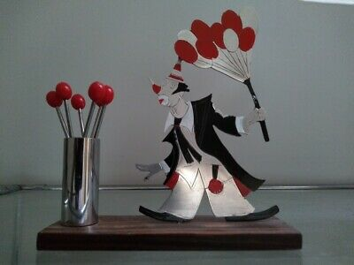 French Art Deco Comical Clown with Balloons Sudre Cocktail Sticks Picks Barware