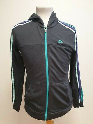 L698 Girls Adidas Black Blue Purple Striped Tracksuit Jacket Hoodie Age 14-15
