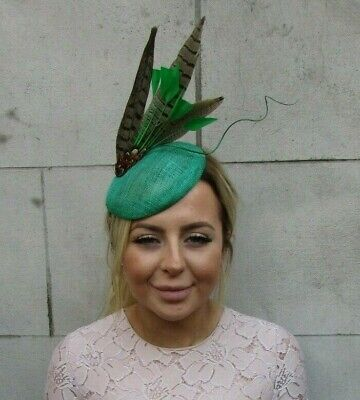 Emerald Racing Green Pheasant Feather Hat Fascinator Hair Clip Piece Races 7932