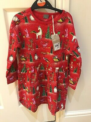 Bnwt Next Girls Christmas Dress Red Age 5