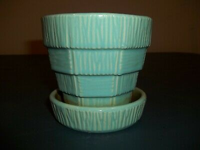 "Vintage McCoy Mid-Century Modern Green Pottery Attached Saucer Planter 4"" Tall"