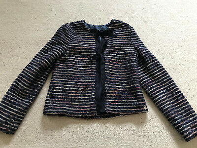 Miss Grant Girls Navy Striped Metallic Jacket Age 13-15 Years ( Adult 8-10) Vgc