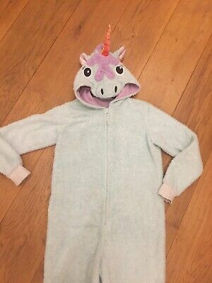 Girls Aqua Mint M&S Fluffy Unicorn Onesie (not Gerber) Age 10-11-12 All-in-one