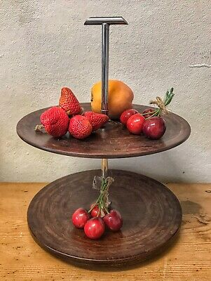 Vintage Wood & Chrome 1920s 2-Tier Cake Stand