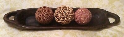 Long Wooden Dish With 3 Decorative Balls
