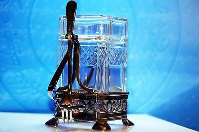 Antique Excellent Ornate Glass Pickle Jar With Silver Plated Stand And Fork