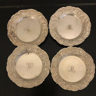 4 S Kirk & Son Repousse Sterling Silver Ashtrays