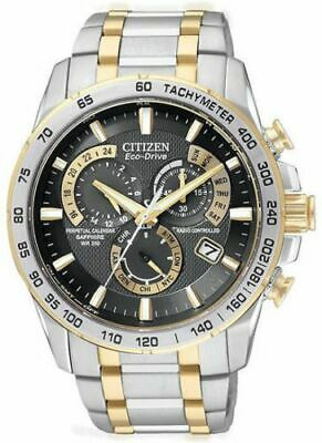 Mens Citizen Eco Drive Perpetual Calendar Chronograph E650 two-tone wrist watch