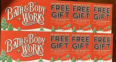 (6) Bath & Body Works Coupons 1 Item up to $16.50 value W/ $10 Purchase 12/20-24