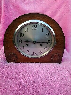 Art Deco, Enfield, 8 Day Striking Oak Mantel Clock, In Good Working Order