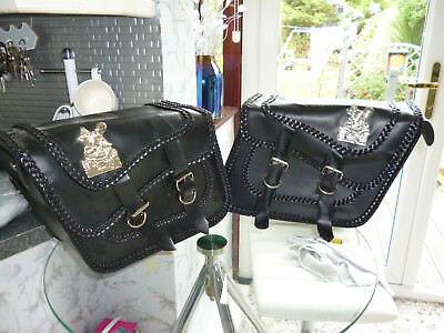 SADDLE BAGS, TOOL ROLL & SISSY PACK SET (4 items) BRAIDED SILVER WOLF