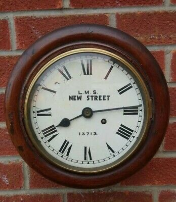 "L. M. S New Street 13713  8"" Dial Mahogany Wall Clock Fusee Movement"