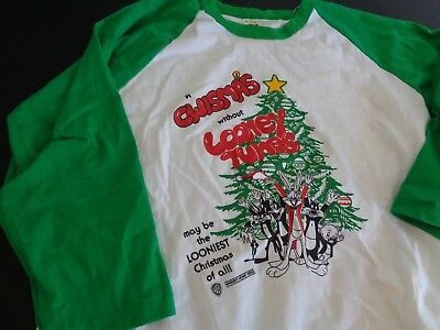 A CHWISMAS Christmas WITHOUT LOONEY TUNES Warner 70's 80's VINTAGE Shirt L Bugs