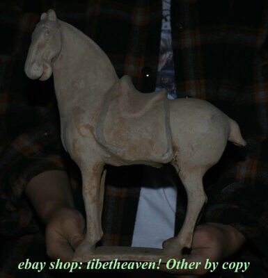 "11.6"" Old China Tang sancai Pottery Dynasty Palace War Tang Horse Luck Sculpture"