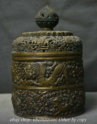 "7.2""Da Ming MK Chinese Copper Carved Dynasty Dragon Beast Incense Burner Censer"
