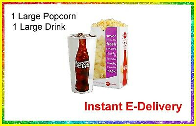 1 Large Popcorn 1 Large Drink  AMC Theaters Nationwide. delivered instantly