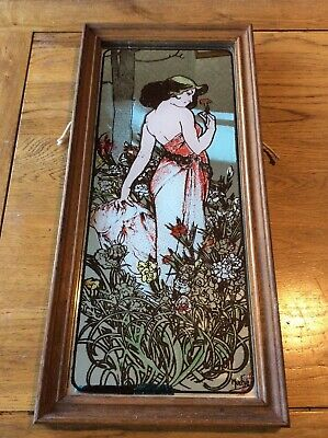 Vintage Picture Mirror by Alphonse Mucha