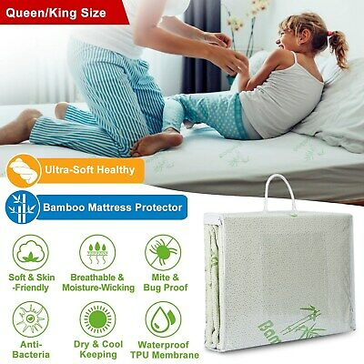 Bamboo Mattress Cover Fitted Bed Protector Pad Topper King Queen Waterproof USA