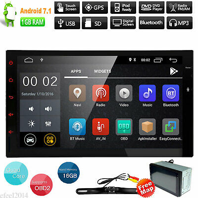 "7"" Android 7.1 HD Double 2 DIN Car Stereo No DVD Player Radio GPS Navigation Wif"
