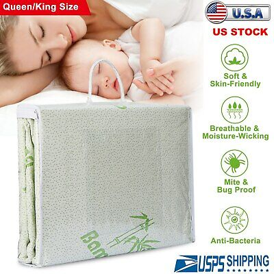 "Bamboo Mattress Cover Fitted Bed Protector Pad Topper 14"" King Queen Waterproof"