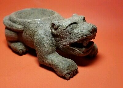 Pre-Columbian serpentine zapotec jaguar sacrifice container 700AD-1200AD