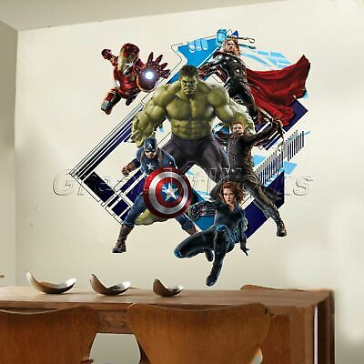 Removable 3D Wall STICKER The Avengers Art Movie Super Hero Kids Boys Room Décor