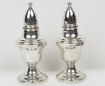 Vintage Columbia Sterling Silver Salt & Pepper Shakers Weighted 75.5gr