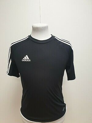 L731 Boys Adidas Climalite Black S/Sleeve Stretch Sports T-Shirt Age 13-14 Years